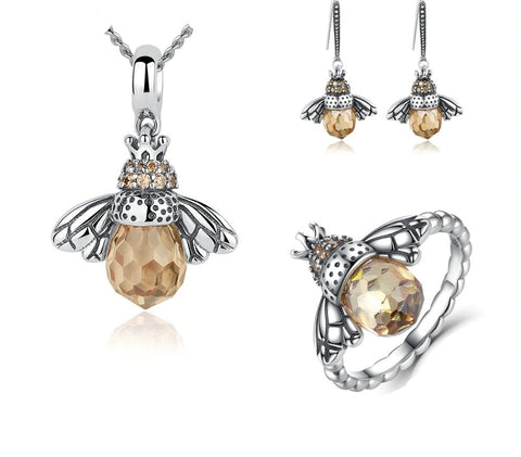 emannashop.com - 925 Sterling Silver Bee CZ Jewelry Set