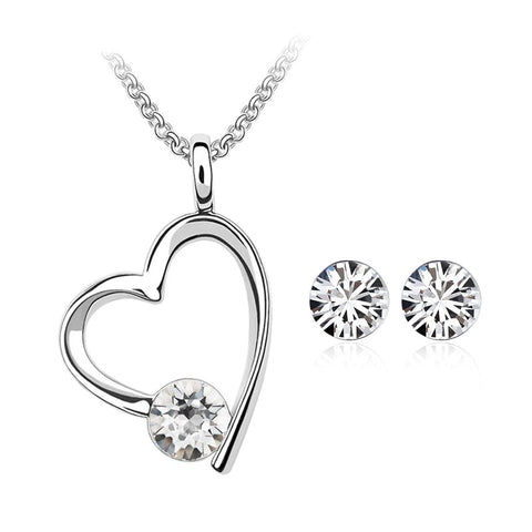 emannashop.com - Classic Heart Set With Crystals From Swarovski Elements