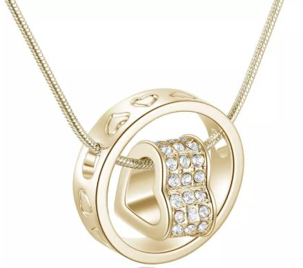 emannashop.com - Forever Heart Pendant Silver & 18K Gold Necklace With Rhinestone Crystals