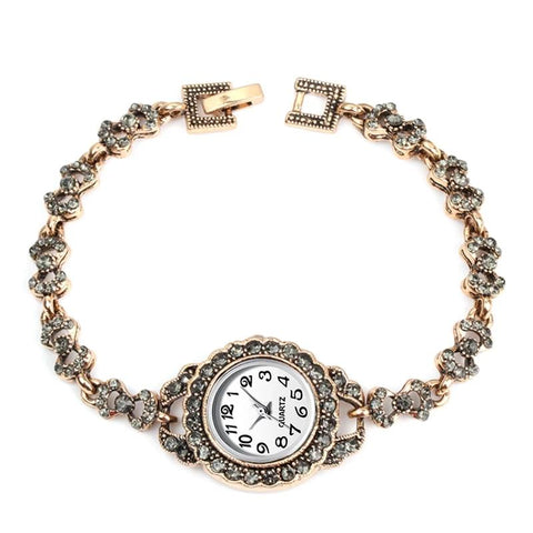emannashop.com - Antique Gold Turkish Gray Rhinestone Vintage Watch