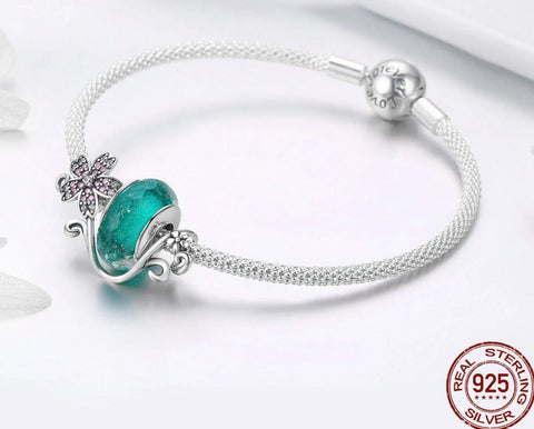 emannashop.com - 925 Sterling Silver European Glass Beads Flower Bracelet