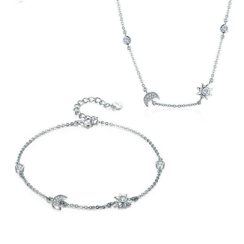 emannashop.com - 925 Sterling Silver Sun & Moon Jewelry Set