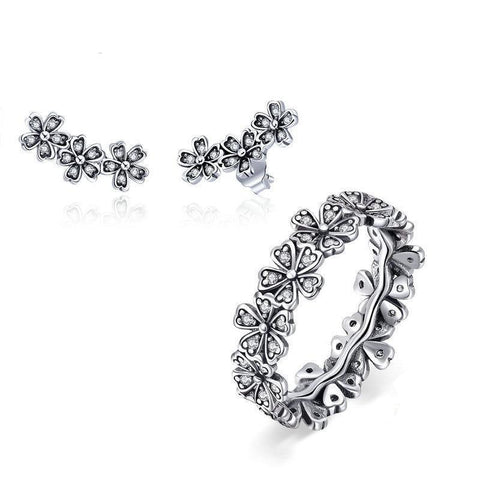 emannashop.com - 925 Sterling Silver Daisy Jewelry Set
