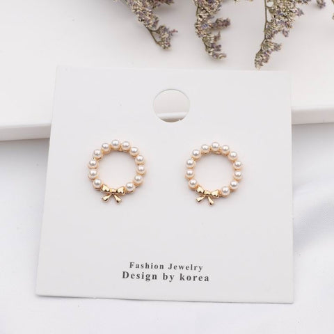 emannashop.com - Korean Design 9 - Simulated Pearl Stud Earrings  (12 Variants)