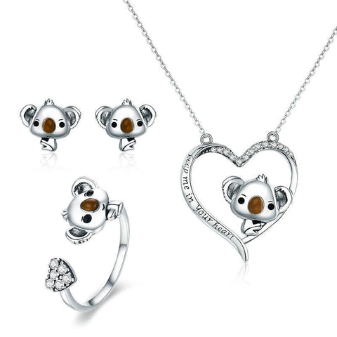 emannashop.com - 925 Sterling Silvers Koala Bear CZ Jewelry Set