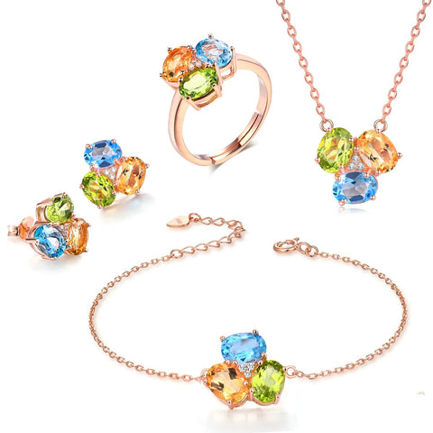 emannashop.com - 925 S/Silver Yellow Citrine, Green Peridot, Blue Topaz Sets