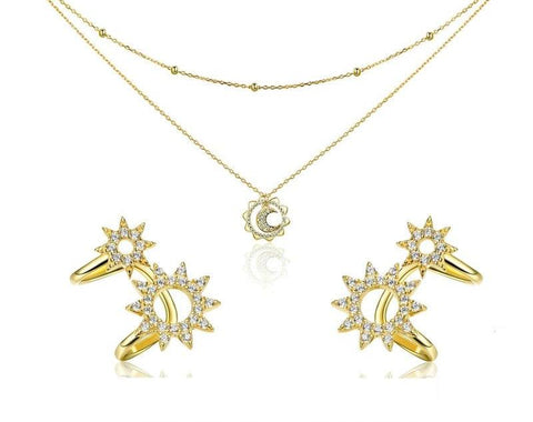 emannashop.com - 925 Sterling Silver Moon & Star Jewelry Set