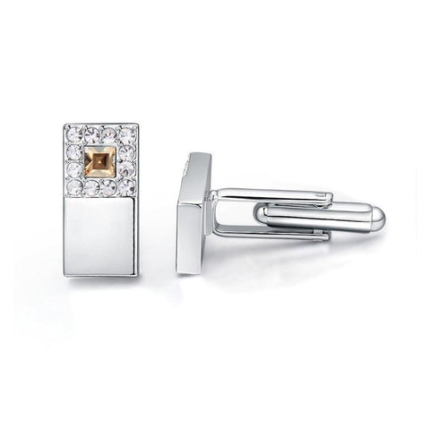 emannashop.com - Double Square Crystal Cufflinks With Crystals From Swarovski Elements (5 Variants)