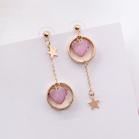 emannashop.com - Korean Design 7 - Stone Heart Drop Earrings (4 Variants)