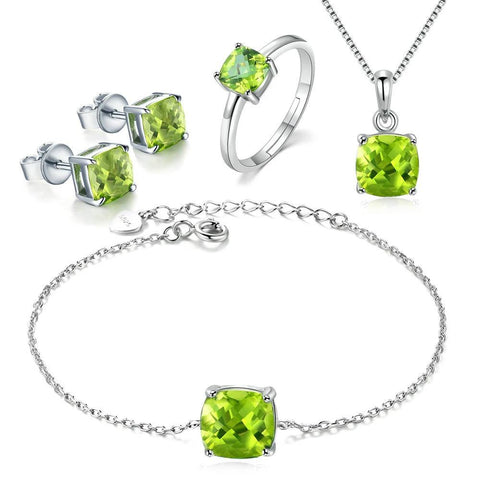 emannashop.com - 925 S/Silver Peridot 18K White Gold Plated Jewelry Sets