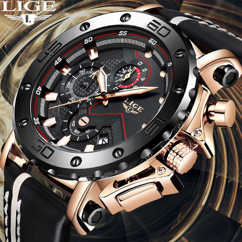 emannashop.com - LIGE Sport Chronograph Stainless Steel Leather Watch