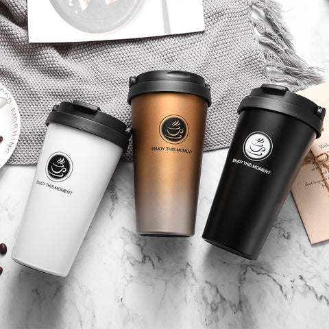 Creative Thermos Mug with Lid Double Wall Logo Custom Stainless Steel Coffee Mug for Travel Vacuum Flask Drinkware 500Ml