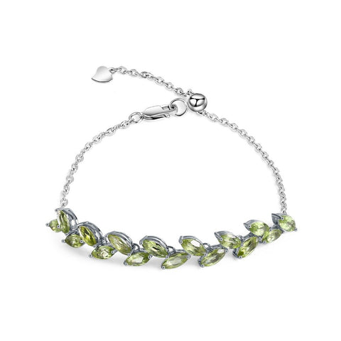 emannashop.com - 925 Sterling Silver Natural Peridot Adjustable Bracelet