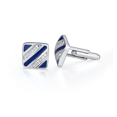 emannashop.com - Classic Stripe Cufflinks With Czech Crystals (3 Variants)