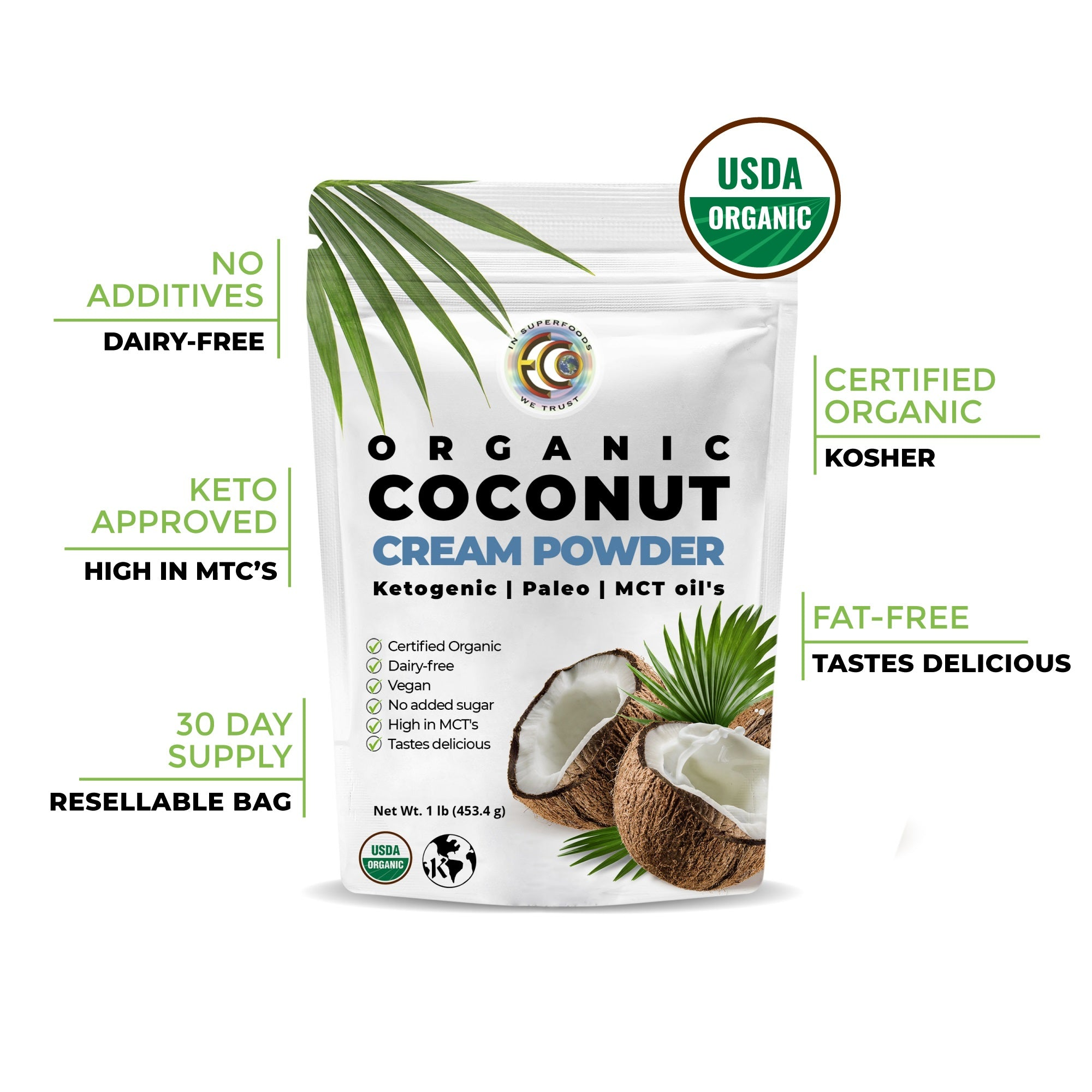 Coconut Cream Powder | USDA Certified Organic | Kosher  - 1 pound