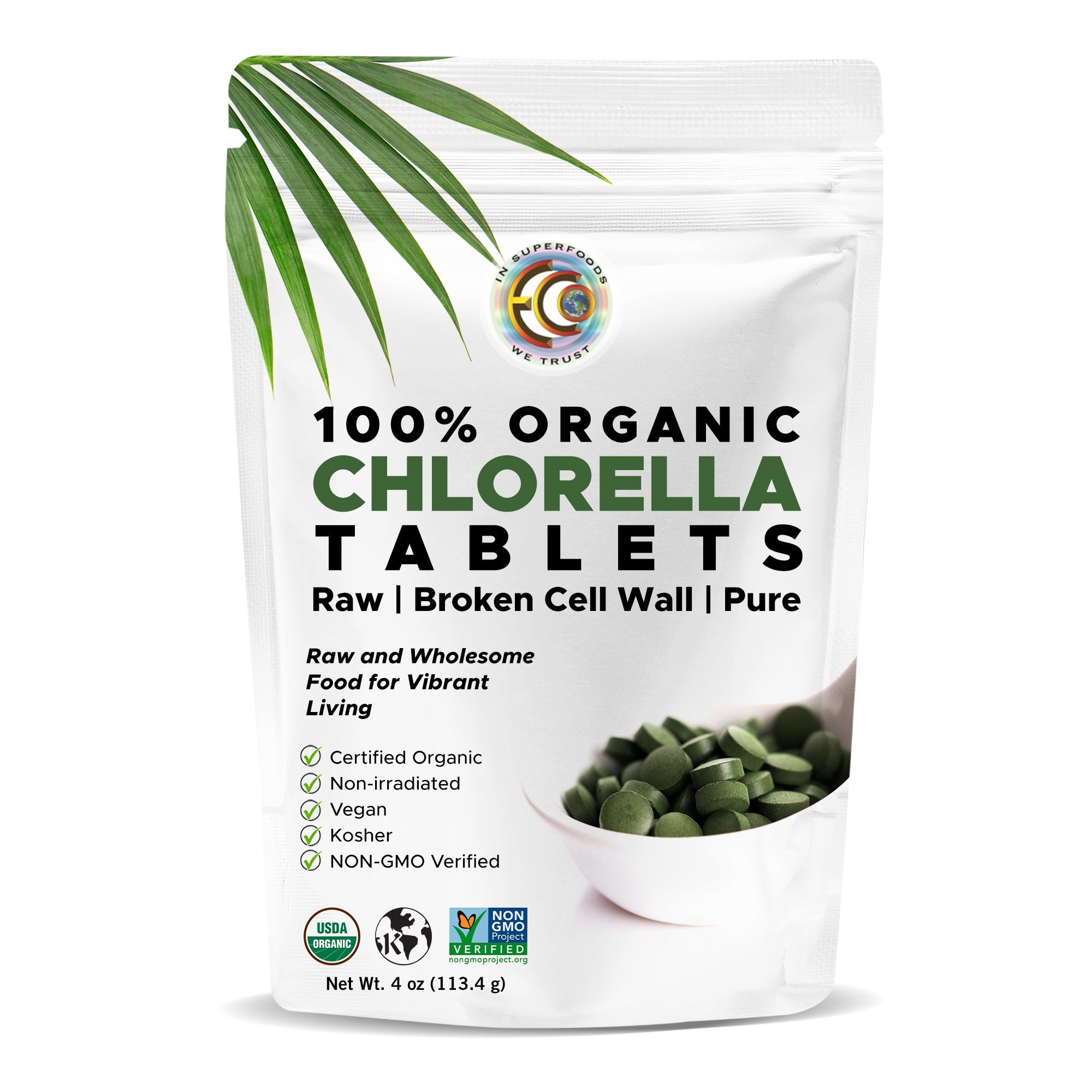Chlorella Tablets | USDA Certified Organic | Kosher | High Potency | Cracked Cell Wall - 400 Tablets