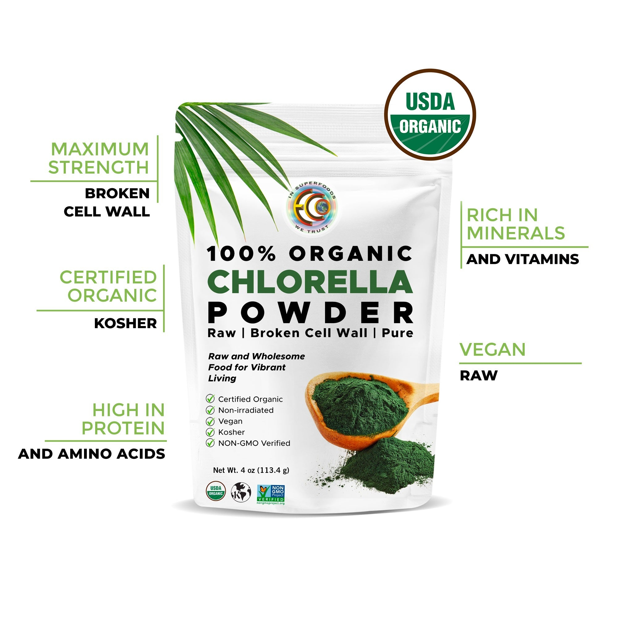 Chlorella powder | USDA Certified Organic | Raw | 4oz