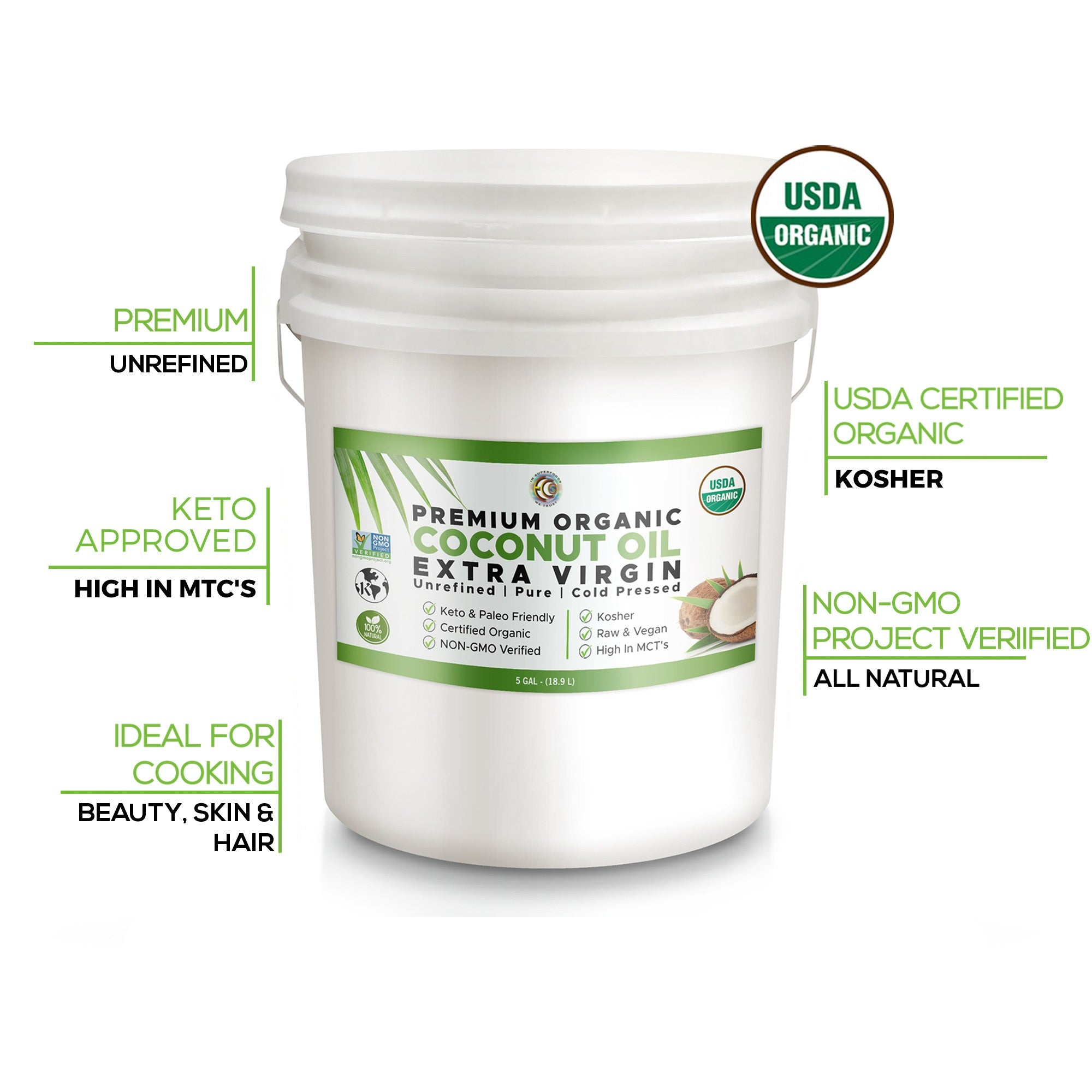 Earth Circle Organic Pure Unrefined Extra Virgin Coconut Oil | Baking | Smoothies | Skin & Hair Care | Gluten-Free | Keto & Paleo Friendly - 5 Gallon