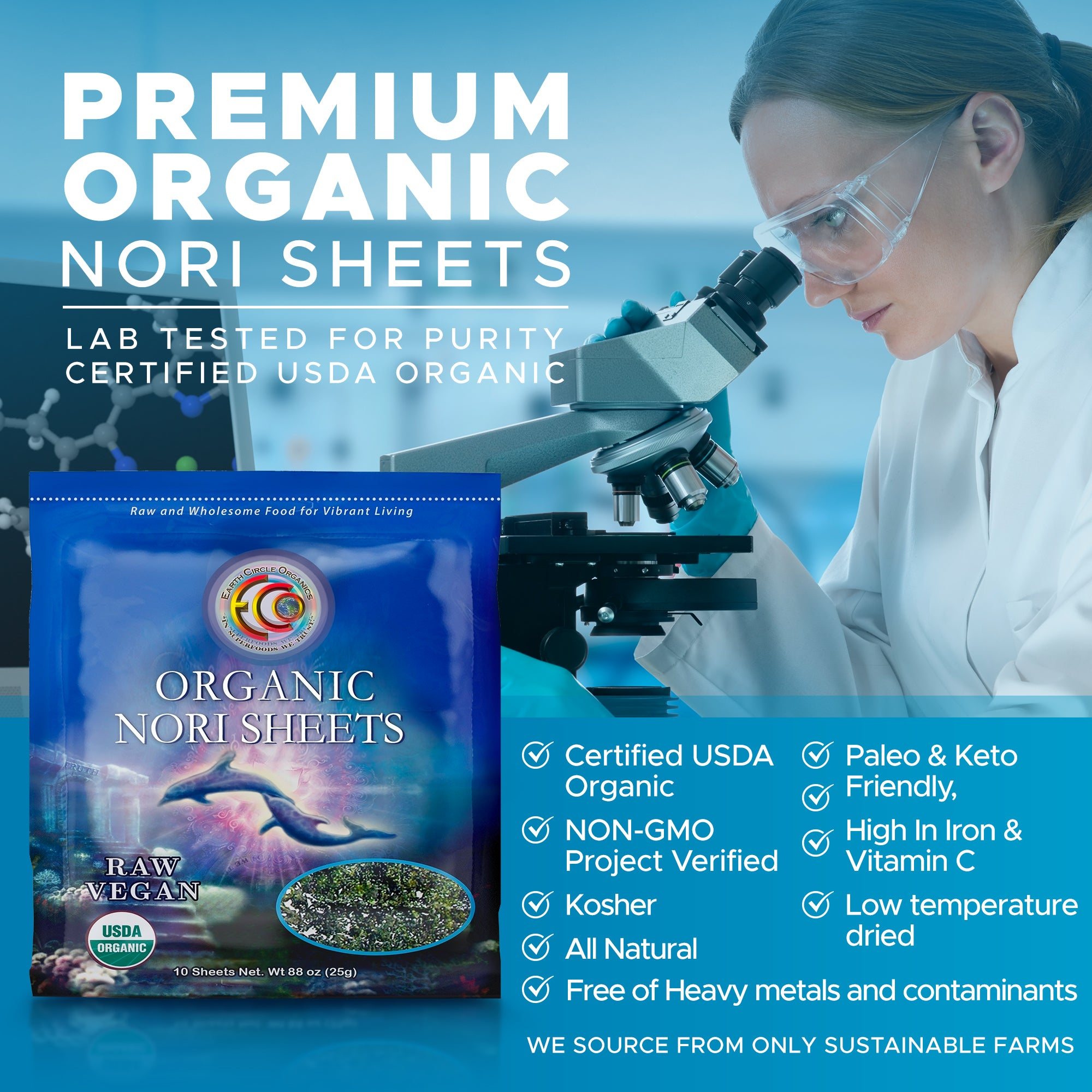 "Nori Seaweed Sheets | USDA Certified Organic | Kosher | Grade ""A"" Rating 