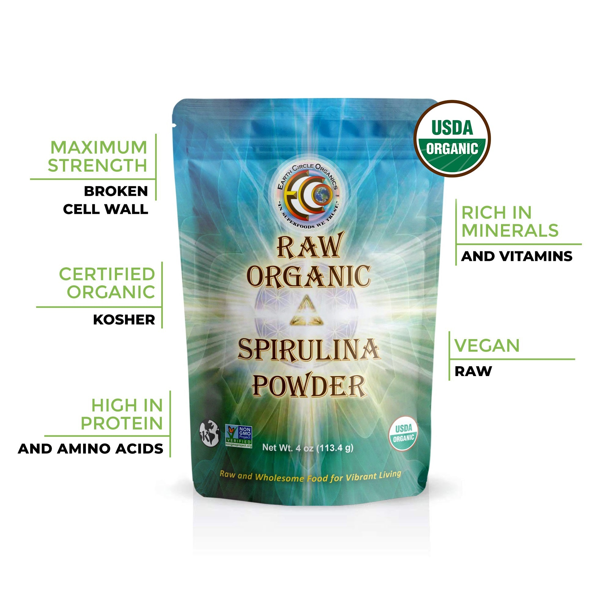 Spirulina Powder | USDA Certified Organic | NON-GMO | Kosher | Non-Irradiated - 4oz