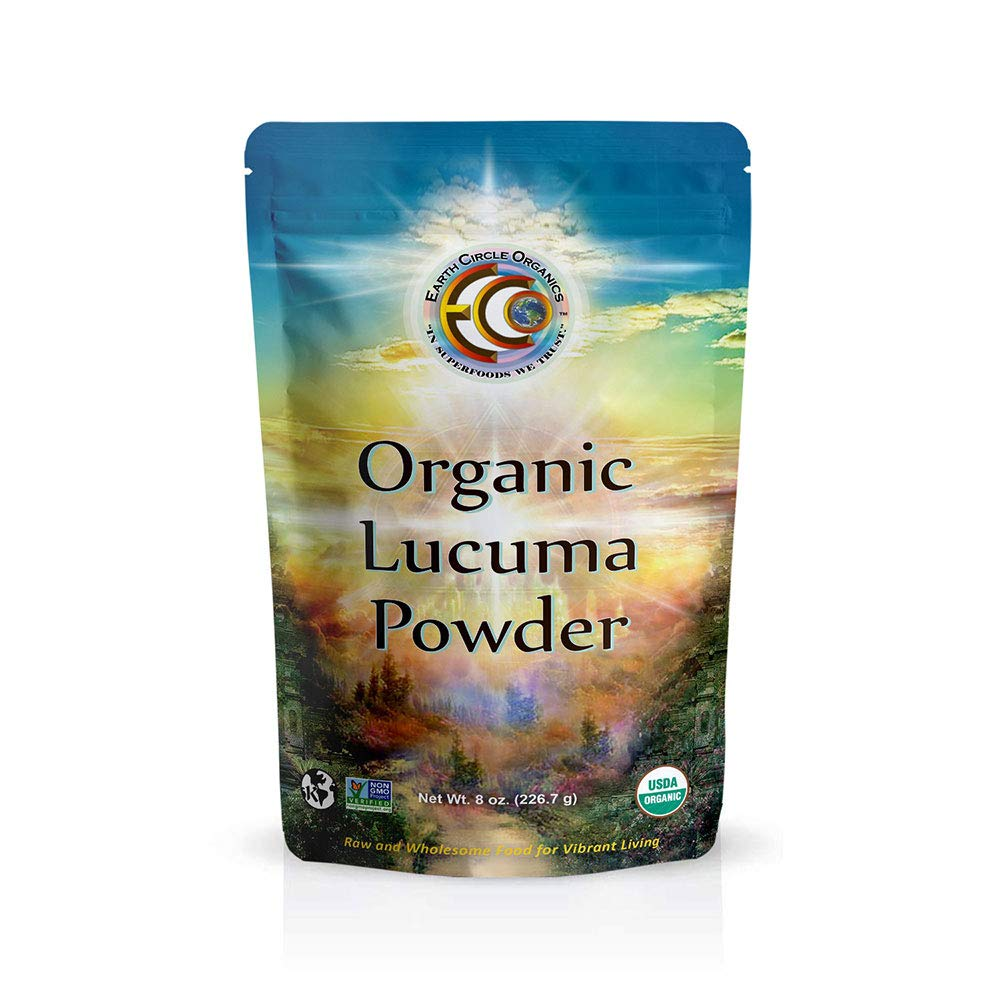 Earth Circle Organics Lucuma Powder - Raw Organic Premium Superfood - Natural Sweet Flavor like Maple - Certified & USDA, Vegan, Gluten-Free - 8oz