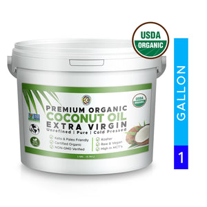 Coconut Oil | USDA Certified Organic | NON-GMO | Kosher | Pure and Unrefined - 1 Gallon