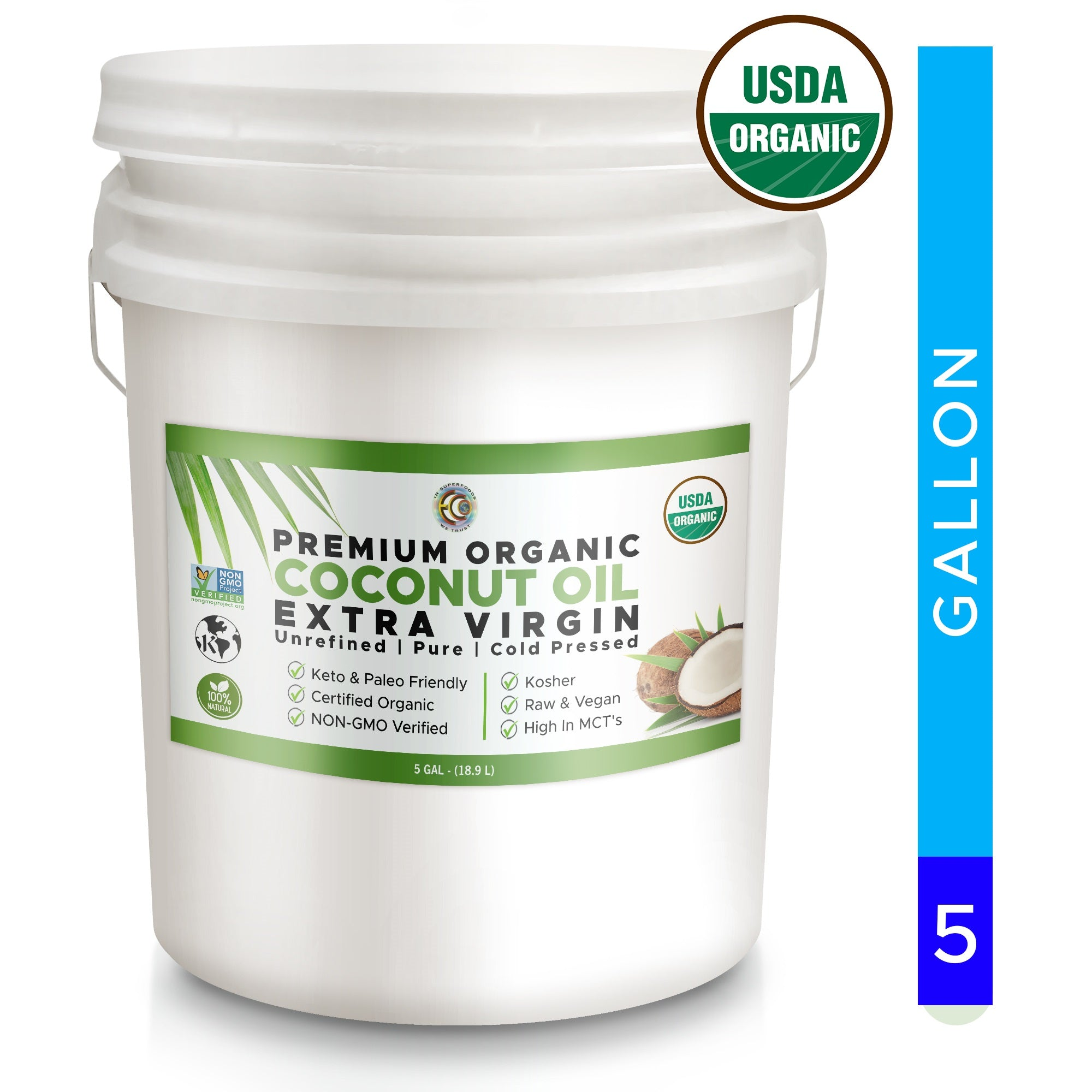 Coconut Oil | USDA Certified Organic | Kosher | Pure and Unrefined - 5 Gallon
