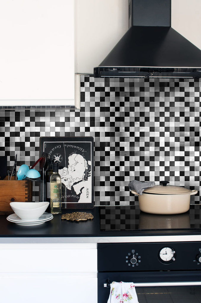 Black Silver Grey - Metal Tiles (Peel and Stick, Self Adhesive Backsplash)