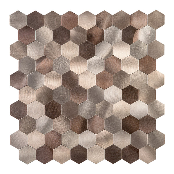 Decopus Metal Tile Peel and Stick Backsplash (Hexagon Copper Brown Muted-Gold Mixed Matted ) 12in x 12in. 4mm thick, Stick On