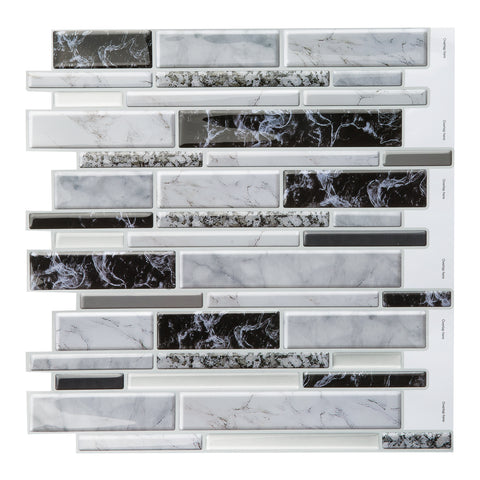 Decopus 3D Gel  Marble Tile Peel and Stick Backsplash (Carrara Black White Grey Long Marble 5pc/Pack) for Kitchen, Bathroom, Wall Accents. 12' x 12' x0.1', Self Adhesive Marble Soft Wall Tile, 3D Gel Like