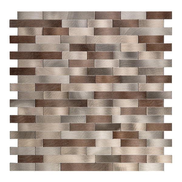 Decopus Peel and Stick Backsplash Metal Tile (LNG15 CBM Brown Copper Muted-Gold Mixed Matted 12in x 12in. 4mm thick, Stick On