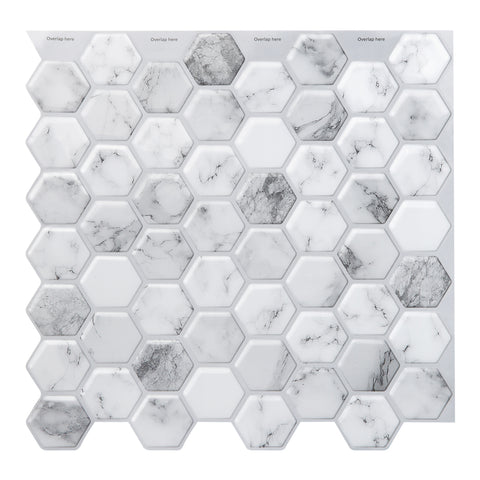 Decopus 3D Gel Tile Peel and Stick Backsplash (Hexagon Carrara Marble Grey White 5pc) for Kitchen, Bathroom, Wall Accents. 12' x 12' x0.1', Self Adhesive 3D Marble Gel Like  Honeycomb Wall Tile
