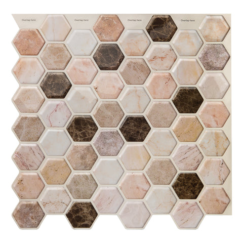 Decopus Soft Tile Peel and Stick Backsplash (Hexagon Emperador Marble Brown 5pc)