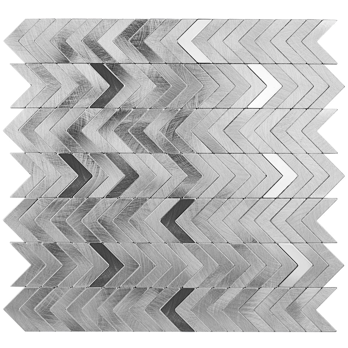 Decopus Peel and Stick Metal Tile Backsplash (Herring Bone, Chevron Silver) for Kitchen, Bathroom