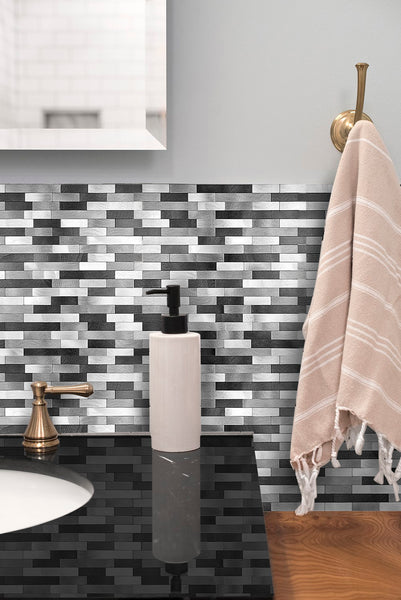 Decopus Peel and Stick Backsplash Metal Tile (LNG15 BWG Matted Black Silver Grey)