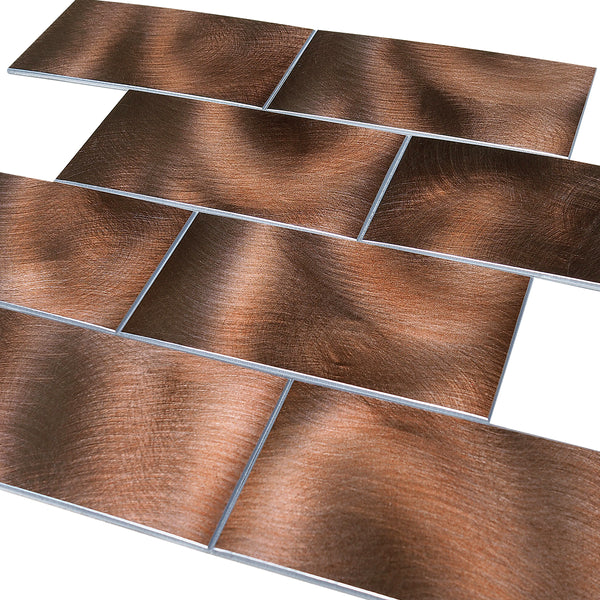 Decopsu Peel and Stick Metal Subway Tile Backsplash (Rotary Abrased 15in x 12in 1.6in Thick) for Kitchen Bathroom Wall Accent (5pc/Pack, RT Dark Brown)