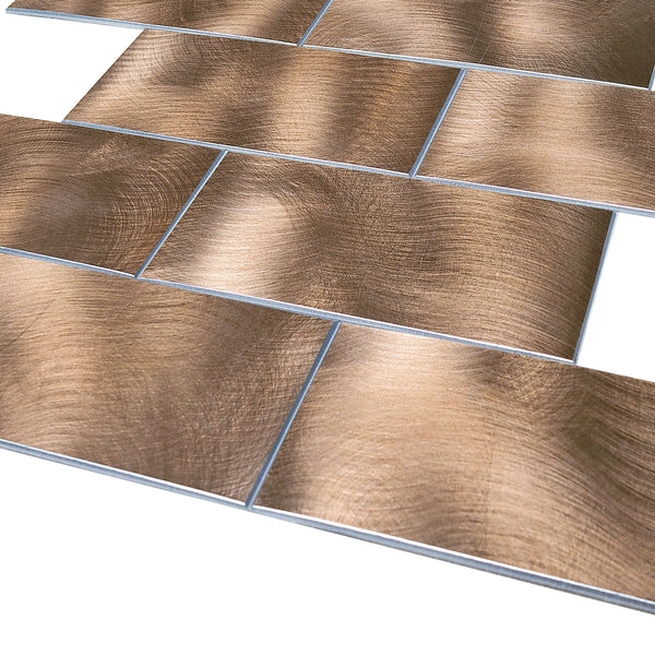 Decopsu Peel and Stick Metal Subway Tile Backsplash (Rotary Abrased 15in x 12in 1.6in Thick) for Kitchen Bathroom Wall Accent (5pc/Pack, RT Copper Matte)