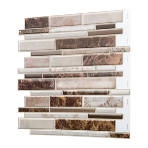 Decopus Soft Tile Peel and Stick Backsplash (LNG Emperador Marble Brown Beige 5pc/Pack) 12'' x12''x0.1''