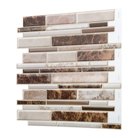 3D Gel Soft Tile Peel and Stick Backsplash (LNG Emperador Marble Brown Beige 5pc/Pack) for Kitchen, Bathroom, Wall Accents. 12in x 12 x0.1inch thick, Stick On 3D Marble Gel Like  Wall Tile, Self Adhesive