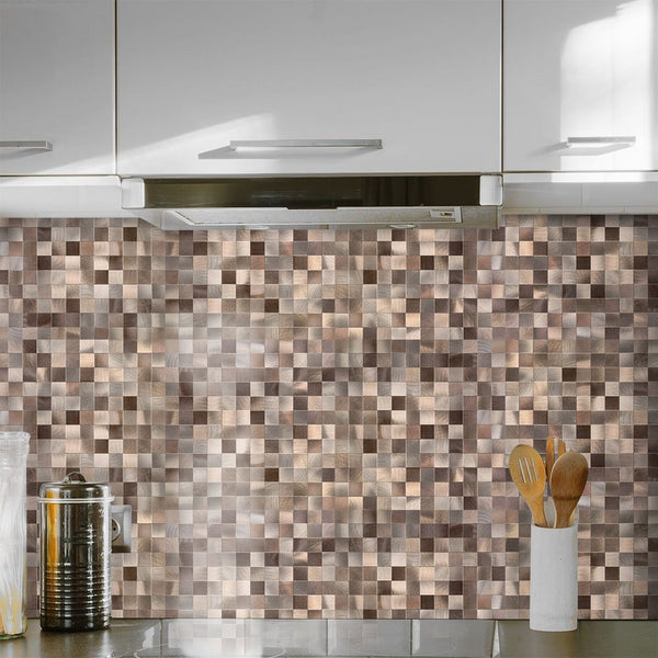 Copper Brown Metal Tile Backsplash Peel and Stick (MS25 5pc/PACK) for Kitchen Bathroom, Metal Tiles, Wall Accents. 12in x 12in. 4mm thick, Stick On Aluminum Wall Tile