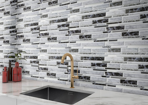 Decopus Soft Tile Peel and Stick Backsplash (Carrara Black White Grey Long Marble ) 12'' x 12'' x0.1''