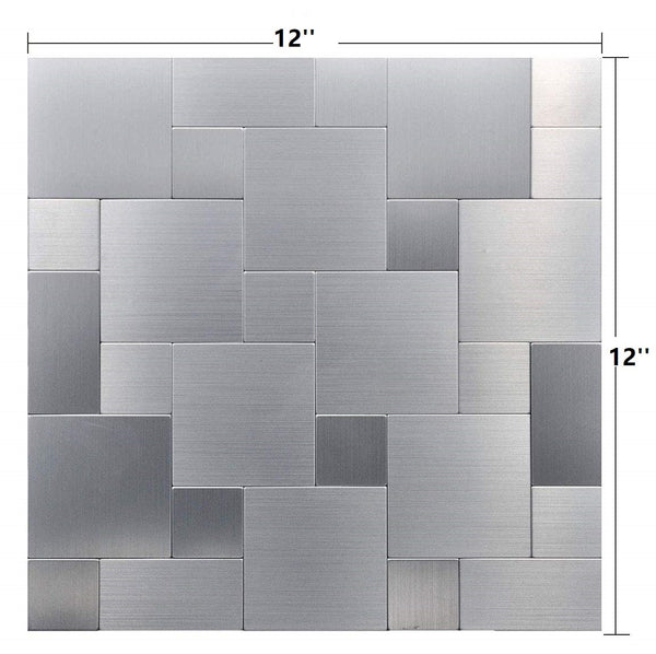 "Silver ""Intersected Sqaure Metal Tile Peel and Stick for Kitchen, Bathroom"