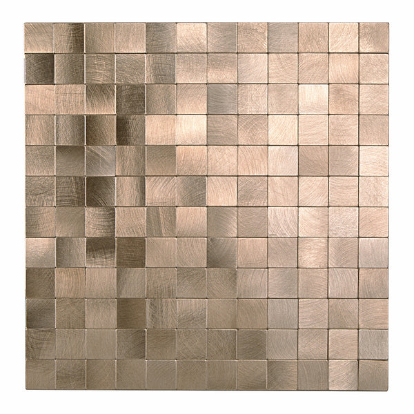 Decopus Metal Tile  Peel and Stick Backsplash (MS25 Copper Matte) 12in x 12in, 4mm thick, Stick On