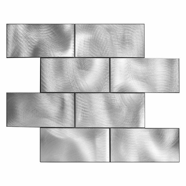 Decopsu Metal Subway Tile Backsplash Peel and Stick (Retangle Silver, Rotary Abrased 5pc/Pack) for Kitchen Bathroom Wall Accent 15in x 12in 1.6in Thick, Self Adhesive Metal Tile