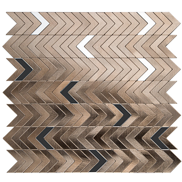 Decopus Peel and Stick Metal Tile Backsplash (Herring Bone,Cheveron, Copper Gold dip with Silver)