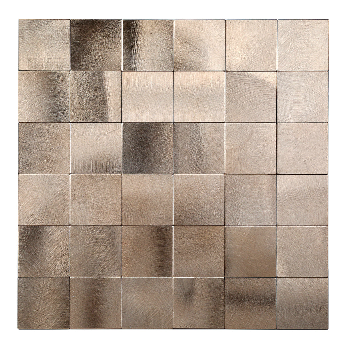 Decopus Copper Metal Tile Backsplash Peel and Stick (Square AC50 Copper Matte 5pc/Pack 12 x12'', 1.6''), Self Adhesive Tile