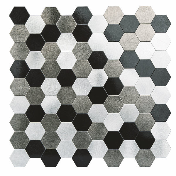 Decopus Black.Silver.Grey Metal Tile Backsplash Peel and Stick (Hexagon Black.Silver.Grey Matte 5pc/Pack 12 x12'', 1.6'' Thick), Self Adhesive Tile for Kitchen Wall Bathroom Wall Accent