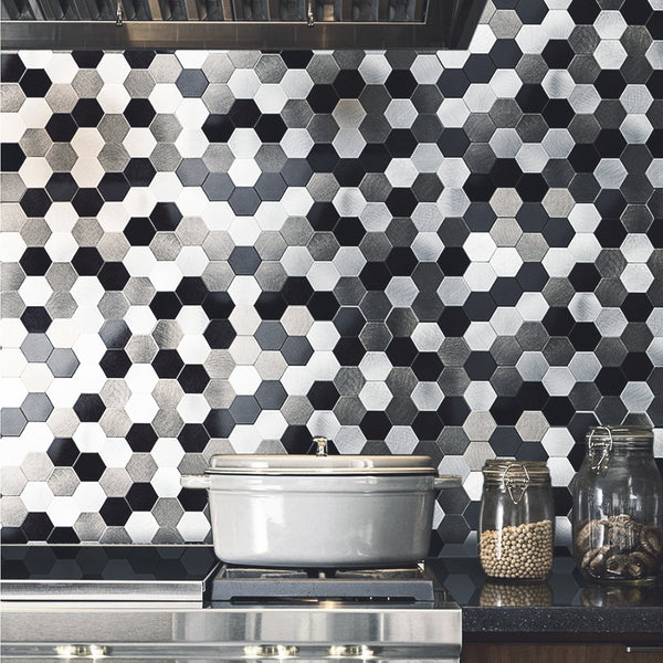 Decopus Metal Tile Backsplash Peel and Stick (Hexagon Black Silver Grey Matte 12 x12'', 1.6'')