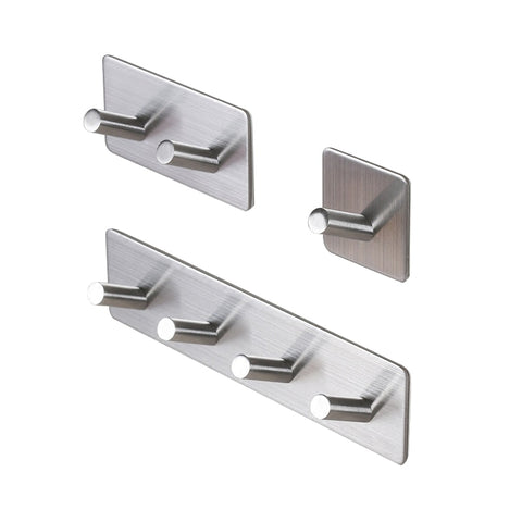 3M Self Adhesive Wall Door Back Hooks Heavy Duty Stainless Steel Clothes Hanger Bathroom Kitchen Towel Rustproof Hook