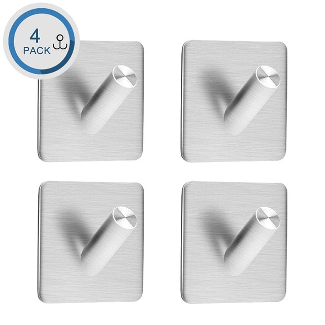 Peel and Stick  Stainless Steel Hooks For Hanging Wall Hanger Key Bag Clothes Coat Holder Kitchen Towel Hook